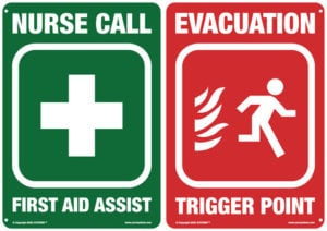 AARC NUrse Call and Evacuation Safety Signs